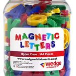 Wedge Whiteboards – Tub of 144 Magnetic Upper Case Letters, Spelling, Pre-school, Educational, Phonics, Teaching Aid