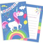 Unicorn and Rainbow Party / Birthday Invitations – Includes Envelopes (Pack of 10)
