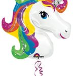 Amscan 3129901 33 x 29-Inch Rainbow Unicorn Super Shape Foil Balloon