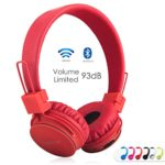Volume Limited + Wireless Bluetooth Kids Headphones, Termichy wireless/wired Foldable Stereo over-Ear headset with shareport and Built-in Microphone for calling, children Bluetooth Earphones for smartphones PC music gaming. Red